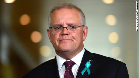 Australian Prime Minister Scott Morrison attends a news conference to answer sexual assault allegations made by staffer Brittany Higgins against a male staffer at Parliament House in Canberra on February 16.