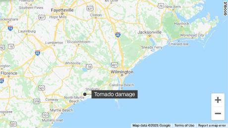 A deadly tornado raced through Brunswick County, North Carolina late Monday evening.