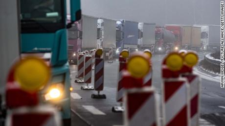 Trucks are stuck in a traffic jam near the German-Czech border.