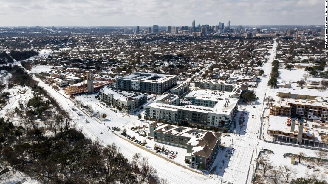 Austin, Texas, is blanketed in snow on Monday.