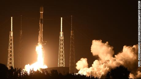 A SpaceX Falcon 9 rocket carrying the 19th batch of approximately 60 Starlink satellites launches from pad 40 at Cape Canaveral Space Force Station in Cape Canaveral, FL, on February 15, 2021. The satellites are part of a constellation designed to provide broadband internet service around the globe.
