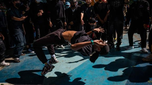 Young people in Yangon take part in an anti-coup hip-hop performance on February 14.