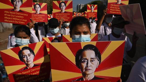 Protesters demonstrate in Yangon on February 14.