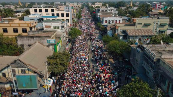 Protesters march through the city of Shwebo on February 13.