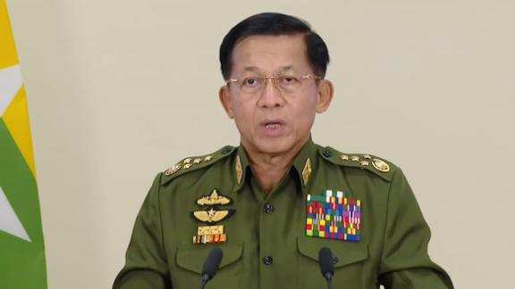"""Gen. Min Aung Hlaing, the country's military leader, makes a televised statement on February 11. He announced that<a href=""""https://www.cnn.com/2021/02/12/asia/myanmar-prisoner-release-intl-hnk/index.html"""" target=""""_blank""""> more than 23,000 prisoners were set to be granted amnesty and released that day.</a> It was unclear what offenses the prisoners were convicted of."""