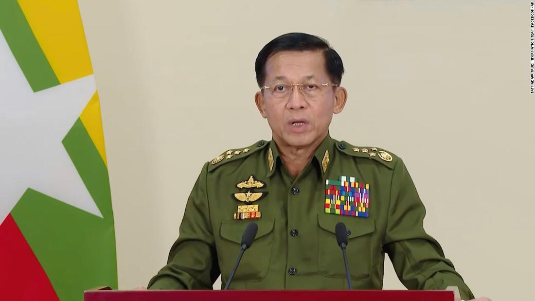 "Gen. Min Aung Hlaing, the country's military leader, makes a televised statement on February 11. He announced that<a href=""https://www.cnn.com/2021/02/12/asia/myanmar-prisoner-release-intl-hnk/index.html"" target=""_blank""> more than 23,000 prisoners were set to be granted amnesty and released that day.</a> It was unclear what offenses the prisoners were convicted of."