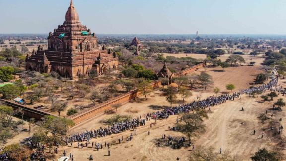 Protesters demonstrate in Bagan, a UNESCO World Heritage site, on February 11.