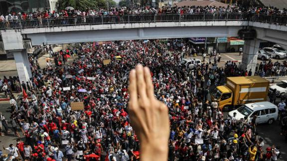 A rally takes place in Yangon on February 7.