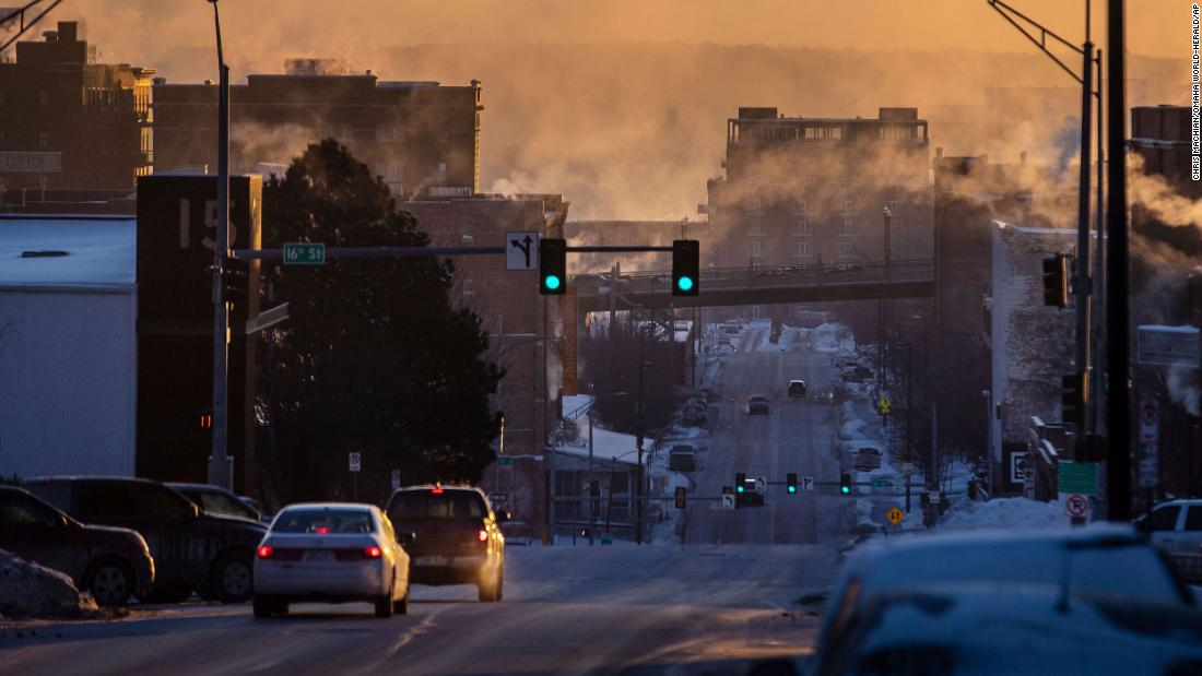 Sunlight filters through steam in Omaha, Nebraska, where temperatures dropped below zero on Tuesday.