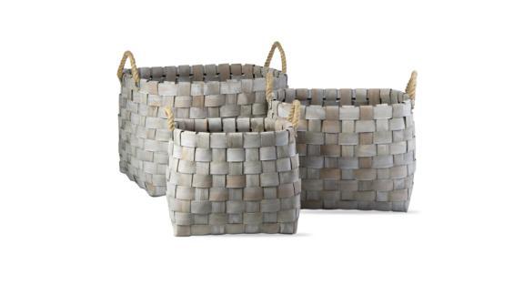 Catalpa Woven Oval Baskets, Set of 3