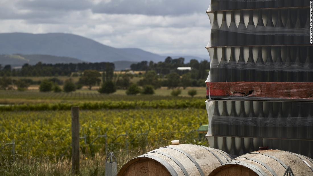 Wine barrels and pallets of bottles are stacked at a winery in the Yarra Valley, Victoria, Australia, on December 7.