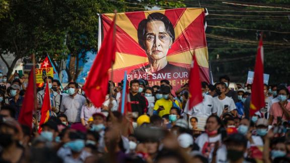 A Suu Kyi banner is displayed during demonstrations in Yangon on February 15.