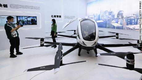 A man looking at an Ehang aerial vehicle during a conference last November in Wuhan, China.
