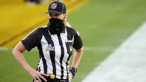 TAMPA, FLORIDA - FEBRUARY 07: Line judge Sarah Thomas #53 looks on before Super Bowl LV between the Tampa Bay Buccaneers and the Kansas City Chiefs at Raymond James Stadium on February 07, 2021 in Tampa, Florida. (Photo by Patrick Smith/Getty Images)
