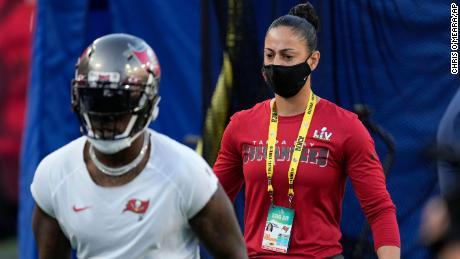 Tampa Bay Buc's strength and conditioning coach Maral Javadifar at Super Bowl 55.