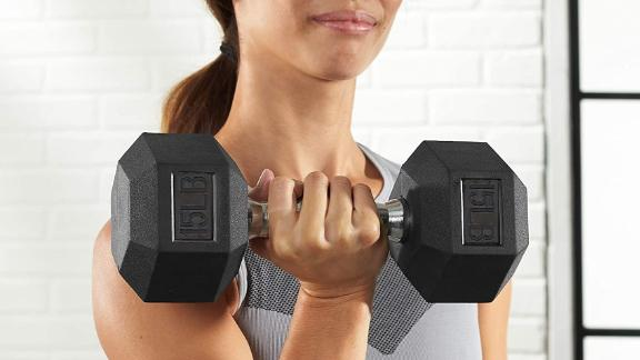 Amazon Basics Rubber-Encased Hex Dumbbell