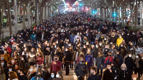 Supporters of the rapper demonstrate in Barcelona on Tuesday condemning his arrest.