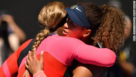 Williams (left) congratulates Osaka on her win.