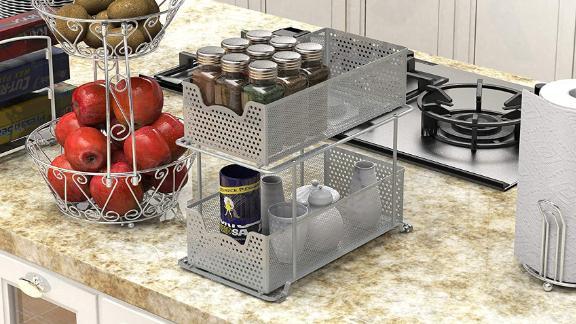 SimpleHouseware 2-Tier Sliding Cabinet Basket Organizer