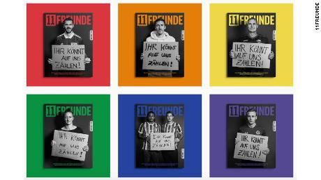 The latest issue of the German magazine 11Freunde (11 Friends) features covers with different footballers as part of a new campaign offering support to LGBTQ players.