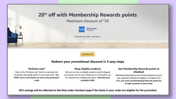 Targeted American Express card members can get this offer for 20% off at Amazon for up to $30 in savings, or another offer for 40% off for up to $40 in savings.