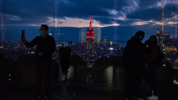The Empire State Building in New York is illuminated in red on February 16 to mark Perseverance's scheduled landing on the red planet.