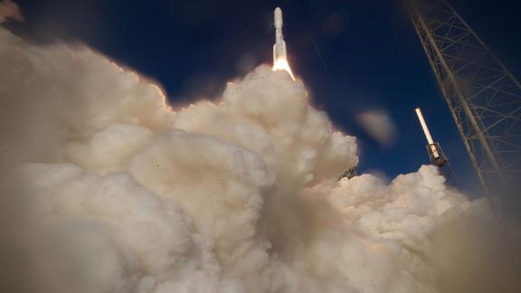 A United Launch Alliance Atlas V rocket, carrying the Perseverance rover, launches from Cape Canaveral, Florida, in July 2020.
