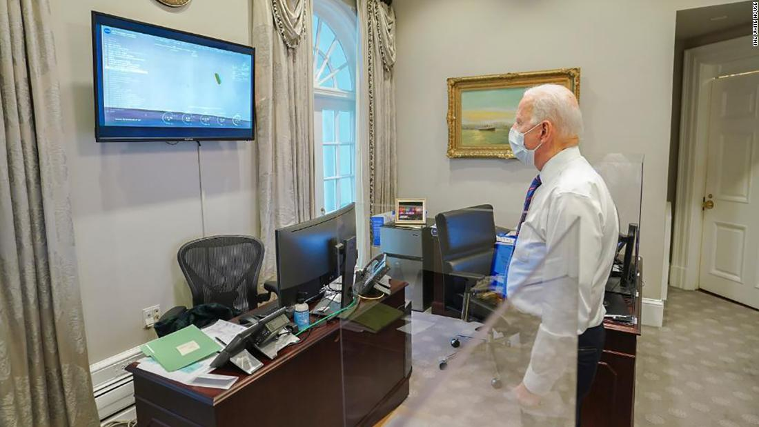 "President Joe Biden watches coverage of the rover landing from the White House. ""Congratulations to NASA and everyone whose hard work made Perseverance's historic landing possible,"" he said <a href=""https://twitter.com/POTUS/status/1362536116197470210?s=20"" target=""_blank"">in a tweet.</a> ""Today proved once again that with the power of science and American ingenuity, nothing is beyond the realm of possibility."""