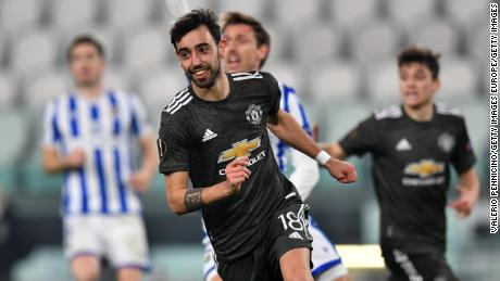 Bruno Fernandes celebrates after scoring his side's second goal  against Real Sociedad.