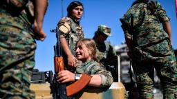 Women of YPJ gather to mark the end of the fight against ISIS in Raqqa.