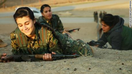 Young women training to join the YPJ in northeastern Syria, 2018.