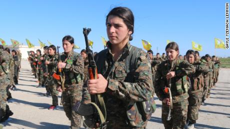 Women in the Women's Protection Units train