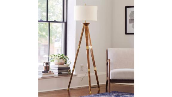 Threshold Oak Wood Tripod Floor Lamp