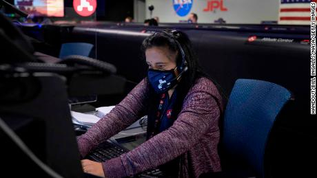 Swati Mohan, NASA's Mars 2020 guidance and controls operations lead, sits in mission control at the Jet Propulsion Laboratory in Pasadena, California. The Perseverance rover landed on Mars successfully Thursday.