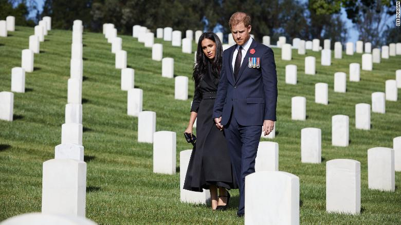 """Prince Harry and Meghan, Duchess of Sussex, <a href=""""https://edition.cnn.com/2020/11/09/uk/harry-meghan-remembrance-sunday-scli-intl-gbr/index.html"""" target=""""_blank"""">recognized Remembrance Sunday</a> by laying flowers at the Los Angeles National Cemetery on November 8, 2020. Remembrance Sunday, the Sunday closest to November 11, is the day the UK pays tribute to those who lost their lives in war."""