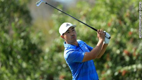 Alex Kang plays a shot on the 17th hole during the Korn Ferry Tour Q-School Tournament Finals.