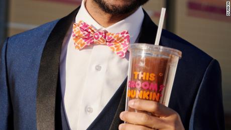 Dunkin'-patterned wedding bowtie.