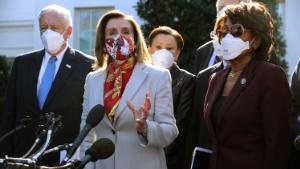 WASHINGTON, DC - FEBRUARY 05: Speaker of the House Nancy Pelosi (D-CA) (2nd L) talks to reporters outside the West Wing after she and House Democratic leaders, including (L-R) Majority Leader Steny Hoyer (D-MD), Rep. Nydia Velazquez (D-NY), Rep. Maxine Waters (D-CA) and others, met with U.S. President Joe Biden to discuss coronavirus relief legislation at the White House February 5, 2021 in Washington, DC. In an effort to generate bipartisan support for his legislation, Biden met earlier in the week with Republican and Democratic senators to discuss his administration's $1.9 trillion COVID-19 relief plan. (Photo by Chip Somodevilla/Getty Images)