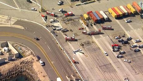 Scene of Friday's crash of a small plane in San Pedro, California, near the Port of Los Angeles.