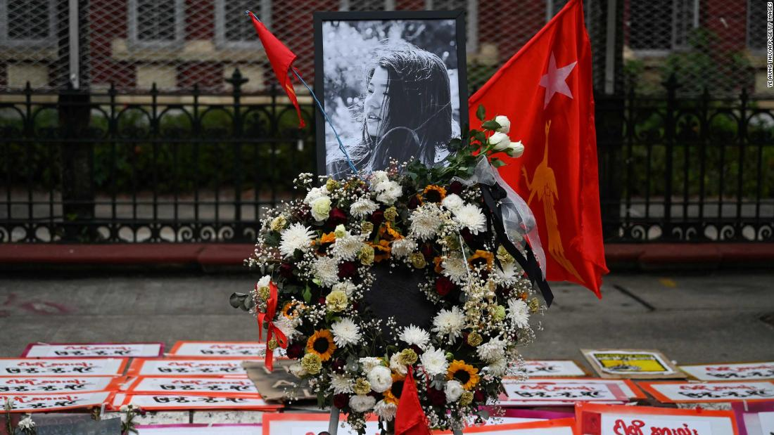 "Flower tributes and sympathy messages are left in Yangon for <a href=""https://www.cnn.com/2021/02/19/asia/myanmar-protester-shot-dies-intl-hnk/index.html"" target=""_blank"">Mya Thweh Thweh Khine.</a> The 20-year-old was shot in the head at a protest in Naypyidaw, and she died on February 19."