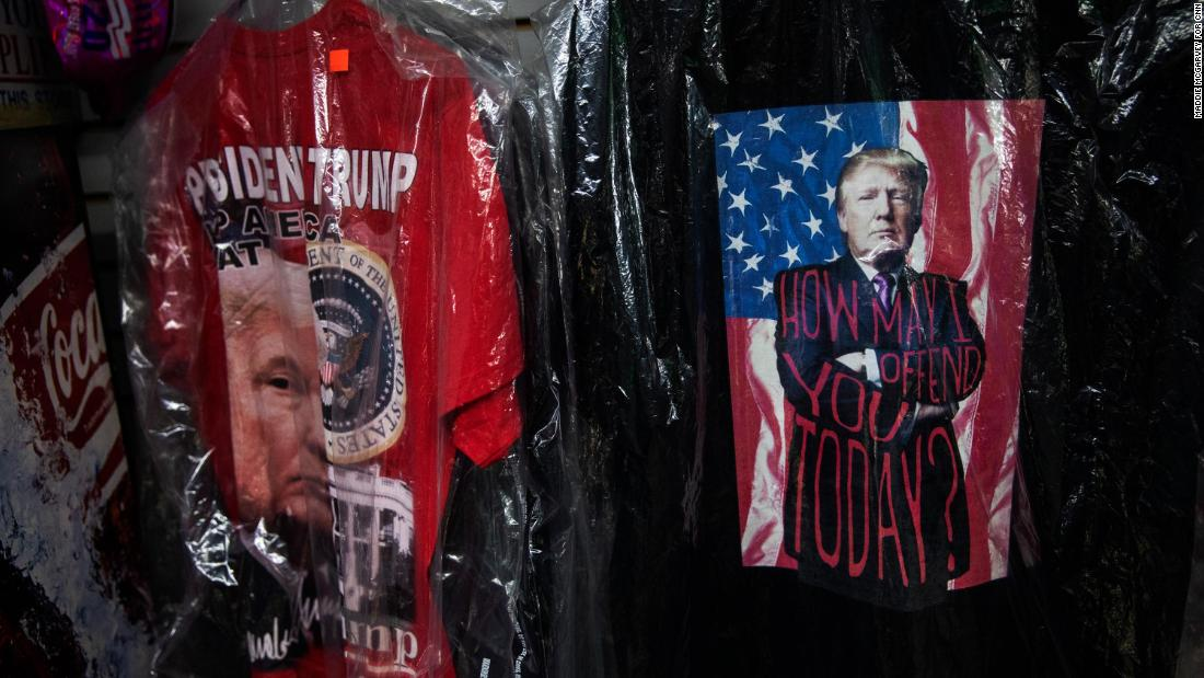Trump shirts for sale at the River Styx Market in Medina, OH on February 18, 2021.