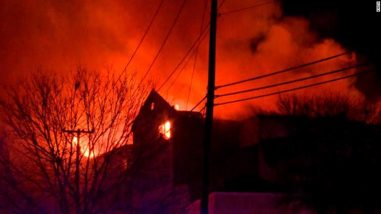 A raging fire engulfs a hotel in Texas