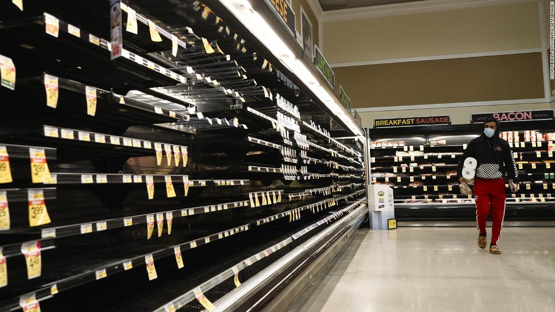 Empty shelves in the meat aisle at a grocery store in McKinney, Texas, on Wednesday