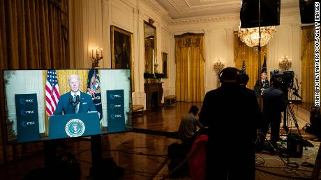 US President Joe Biden speaks at a virtual event hosted by the Munich Security Conference, as seen in the White House, on February 19, 2021.