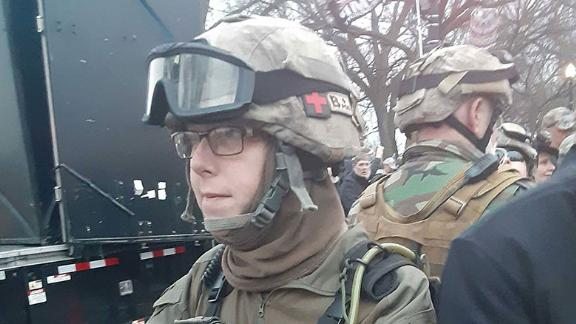 Jessica Watkins, in military gear, was seen on video taking part in the uprising at the US Capitol.