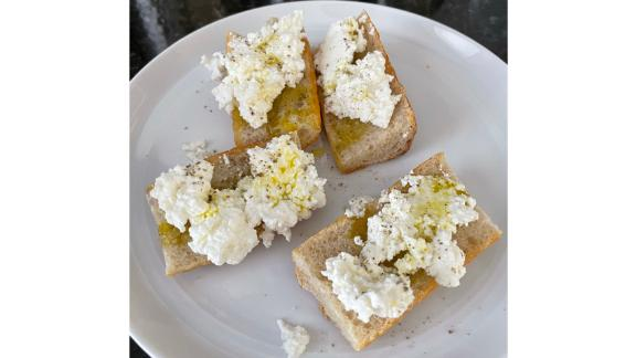 Brightland's olive oil over ricotta toast