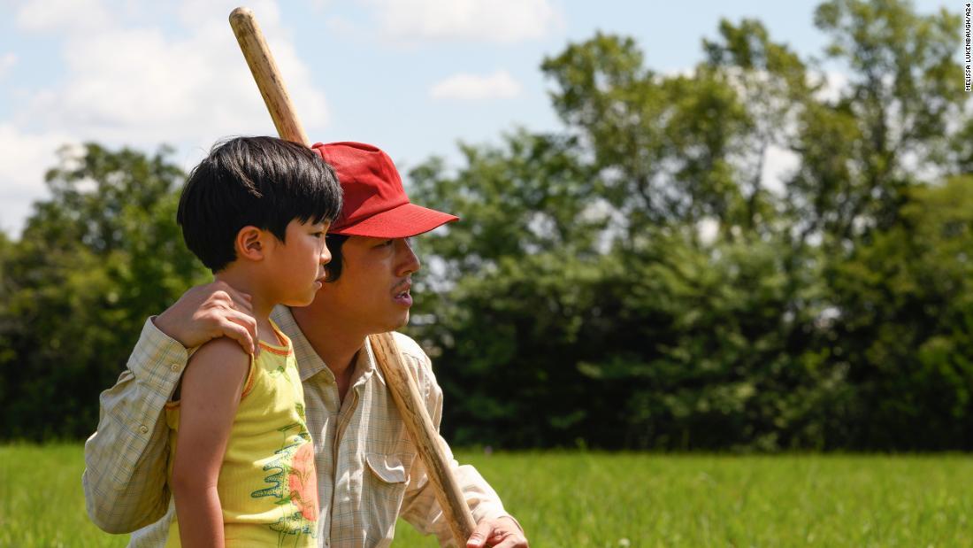 "Steven Yeun plays famiy patriarch Jacob Yi in ""Minari."" Allen S. Kim plays his son, David."