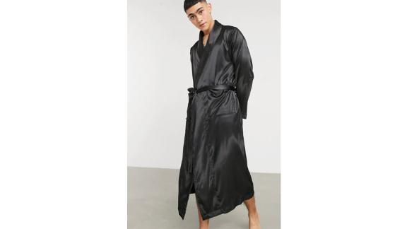 Asos Design Robe and Pajama Bottoms in Black Satin