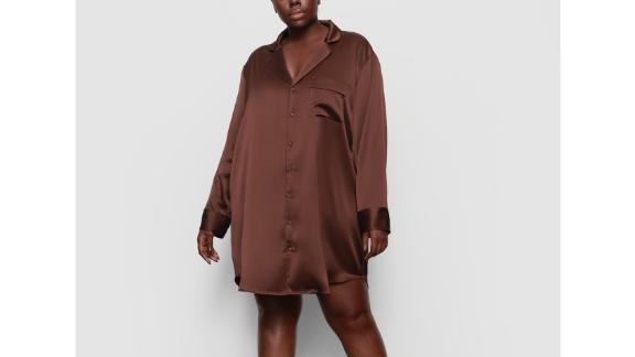 Skims Silk Button-Up Night Dress