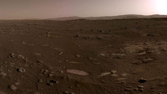 This panoramic image was stitched together from six individual images taken on February 20. The 360-degree view shows the rover's landing site.